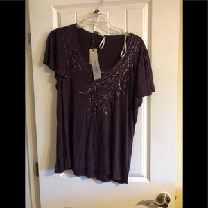 2X plum NWT sequined top